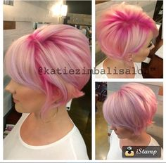 Pin by Carri Dalton on ** Short Hair - Pixies and Bobs in 2018 Bright Hair, Pastel Hair, Pink Hair, Pastel Pink, Short Hair Cuts, Short Hair Styles, Pelo Multicolor, Haircut And Color, Coloured Hair