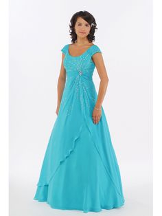 Newest Cap Sleeves Blue Chiffon Beading Floor Length Cheap Prom Dress