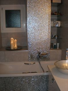 Brilliant 31 White Glitter Bathroom Tiles Ideas And Pictures