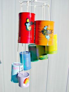 Wind chimes are a simple way to add charm and interest to your outdoor space. The sights and sounds of a wind chime dancing in the breeze can truly take Tin Can Crafts, Diy Crafts For Kids, Kids Diy, Wind Chimes Kids, Carillons Diy, Easy Diy, Sensory Garden, Repurposed Items, Mobiles