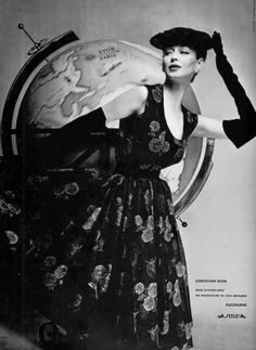 Dorian Leigh in dinner/cocktail dress in silk chiffon floral print by Christian Dior, photo by Guy Arsac, 1954