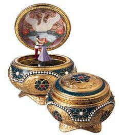 "The San Francisco Music Box Company Anastasia – Alexandra & Nicholas Hinged Trinket Box. Plays tune: ""Once Upon A December"". Ends up on the undersideAlexandra and Nicholas spin around the move floor as the music plays"