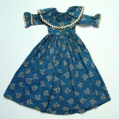 Antique C1870 Blue Calico Doll Dress for Primitive Cloth Rag Doll All Handstitched