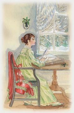 Jane Austen at her desk, illustration by Jane Odiwe
