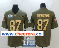 Men s New England Patriots  87 Rob Gronkowski Olive with Gold 2019 Super  Bowl LIII Patch Salute To Service Stitched NFL Nike Limited Jersey 372ac04bb