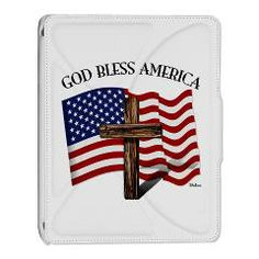 God Bless American With US Flag and Rugged Cross iPad 2 Cover   •   This design is available on t-shirts, hats, mugs, buttons, key chains and much more   •   Please check out our others designs at: www.cafepress.com/TsForJesus
