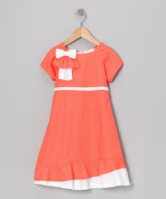 Another great find on #zulily! Gidget Loves Milo Coral Bow Ruffle Dress - Girls by Gidget Loves Milo #zulilyfinds
