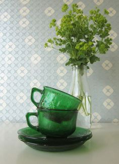 Two Vintage Glass Cup and Saucers Green 70s by