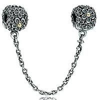 PANDORA Sterling Silver Safety Chain Bouquet with 14K gold and Clip 790864-05  Price: $145.00