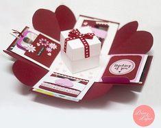 Box Cards Tutorial, Card Tutorials, Boite Explosive, Box Birthday, Origami Templates, Box Templates, Exploding Box Card, Glitter Houses, Explosion Box