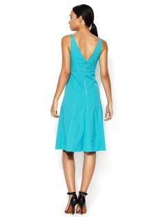Teal dress...