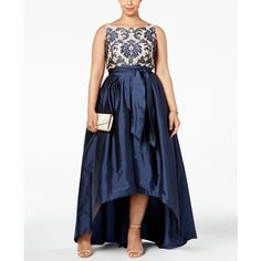 Adrianna Papell Plus Size Embroidered Lace Ball Gown ($269) ❤ liked on Polyvore featuring plus size women's fashion, plus size clothing, plus size dresses, plus size gowns, navy, plus size evening gowns, women's plus size dresses, blue lace gown, lace gown and plus size lace dress