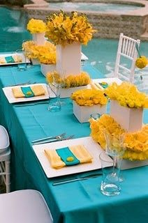 Wedding colors: yellow, light blue (Aqua)... this yellow is a little too yellow for me. I'd probably do a purple