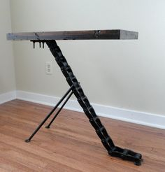 Rustic industrial end table (sold) on Etsy, $200.00