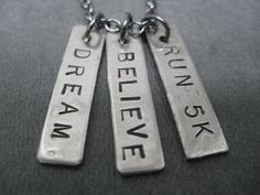 DREAM BELIEVE RUN 5K - Running Necklace on 18 inch gunmetal chain - Perfect for the Cross Country Runner - Running Jewelry