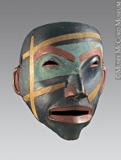 Mask (possibly Heiltsuk), Canadian Pacific coast | Wood, paint, cedar bark, and hide, 30.4 x 27.4 x 17.4 cm., ca. 1800-1850