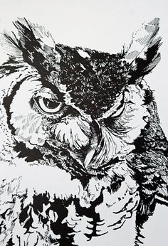 Great Horned Owl Spike I Archival Print 10 x by VolklandCreative