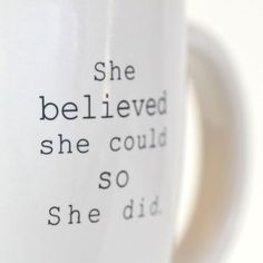Inspirational Gifts for Her: 'She Believed' Cozy Winter Coffee Mug. Holiday 2015 Gift Ideas, Shop the Best Black Friday Sales and Deals #BlackFriday #Shopping #Quotes