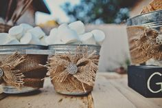 Cute s'mores idea for outdoor rustic wedding