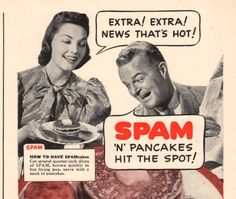 1940 Spam n' Pancakes print ad They Hit the Spot by Vividiom, $5.00