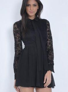 Black Lace Dress with Chiffon Skirt and Collar Bow Front,  Dress, lace dress  long sleeve dress, Chic