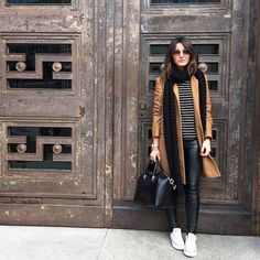 tan-coat-long-scarf-with-striped-tee- Stylish outfits by lovely pepa Trend Fashion, Look Fashion, Fashion Outfits, Fashion Wear, Sneakers Fashion, Fall Fashion, Winter Looks, Fall Winter Outfits, Autumn Winter Fashion