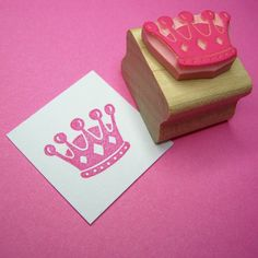 little crown hand carved rubber stamp by skull and cross buns | notonthehighstreet.com