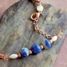 Blue Sodalite Gemstone Leather Energy Ankle Bracelet
