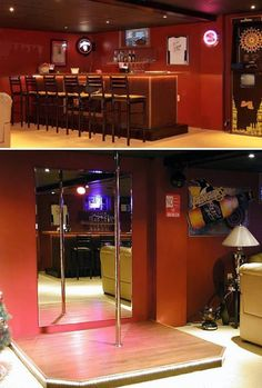 Cool ManCaves - Who says women arent allowed in a man cave? This man cave comes with a 6 x 6 Stage with Stripper Pole and Spotlight. Girl Cave, Babe Cave, Woman Cave, Man Cave Diy, Man Cave Home Bar, Man Cave Basement, Man Cave Garage, Stripper Poles, Game Room Bar