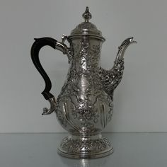 Georgian Silver Rococo Coffee Pot London 1769 Charles Wright