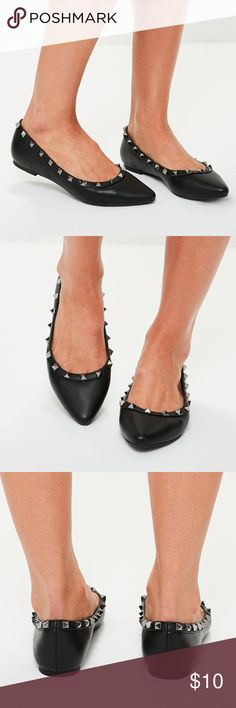 Pointy Studded Flats PU leather. Size 10. New Never worn. Ordered them, and they are too small, so NOT a true 10. I'd say more like a 9, maybe 9.5... Also, one of the studs popped off. will post photo. Otherwise perfect condition. stud can probably be glued easily. Missguided Shoes Flats & Loafers