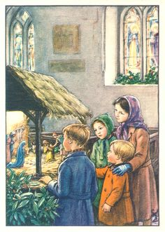 Cicely Mary Barker - Religious Works - Christmas Card Design for Barton-Colton Inc Painting Christmas Scenes, Christmas Nativity, Christmas Past, Christmas Pictures, Christmas Bells, Cicely Mary Barker, Illustration Noel, Christmas Illustration, Illustrations
