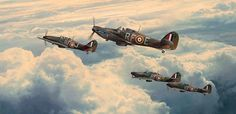 Hurricanes of 303 'Polish' Squadron climb steadily out from Northolt to intercept an incoming Luftwaffe bomber formation heading for London in September 1940, led by Canadian Flight Commander Flt Lt Johnny Kent. ('Undaunted by odds' by Robert Taylor)