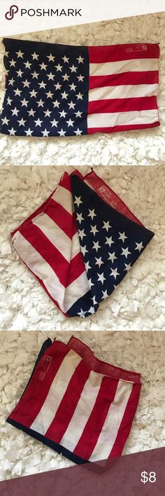 """Unisex American Flag Handkerchief Scarf Square scarf with USA flag. Small yellowish discoloring on white. But still in good condition. No rips or tears. 22""""x22"""". Ships same business day from LA. Paris Accessories Accessories Scarves & Wraps"""