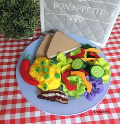 Play Food Felt Food Breakfast Felt Toasted Bacon by decocarin