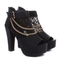 Work Women's Peep-Toed Shoes With Lace Chain Belt Design Hot Shoes, Black Shoes, We Wear, How To Wear, Clothing Sites, Peep Toe Shoes, Fashion Outfits, Womens Fashion, Me Too Shoes