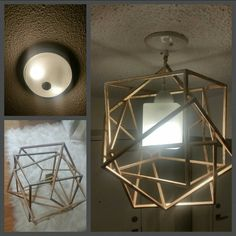 DYI your own light fixture using a beautiful table top decor, simple light fixture and some wire! Style Box, Dyi, Light Fixtures, Wire, Ceiling Lights, Lighting, House Styles, Simple, Table