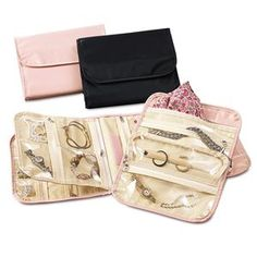 I use this jewelry organizer to hold ALL my jewelry (it has so many pockets!) and it's flat so you can throw the whole thing in a travel bag for a big trip or take out the insert for a weekend trip. I haven't found another one like this with so many pockets but is still small and flat enough to travel with. It's also pretty reasonably priced.
