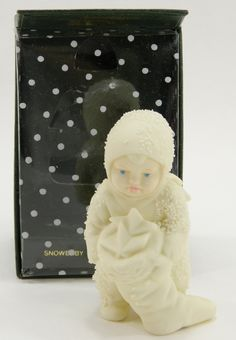 Snowbaby Holding Stocking Full of Stars 7977-4 - Department 56 Snowbabies in Box Retired in Original Box 1988 Porcelain Christmas Figurine by QueeniesCollectibles on Etsy