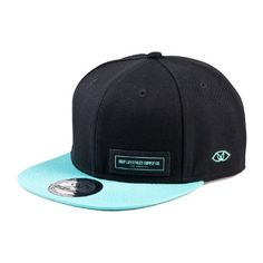 70686f5ddd4 Unisex Women Men Two-tone Twill Snapback Cap Hat w Woven Tag - Black Aqua -  Walmart.com