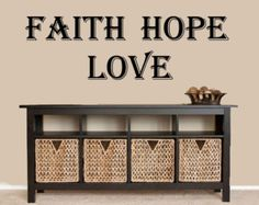 Faith, Hope, Love - Family Room Wall Decal Stickers Faith Love Livingroom Bedroom KJV Scripture Wall Sticker Custom Decal Signs Door Decal by inspirationwallsigns. Explore more products on http://inspirationwallsigns.etsy.com
