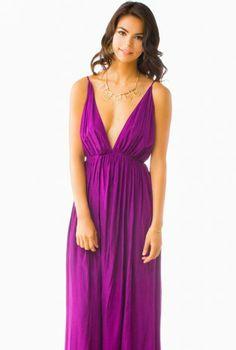Purple Deep-V Open Backless Maxi Dress,  Dress, purple deep v open back, Chic