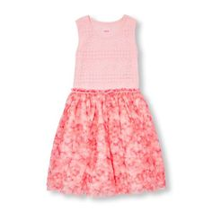 Girls Sleeveless Crochet Lace To Floral Mesh Dress - Pink - The Children's Place