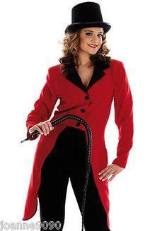 LADIES RINGMASTER FANCY DRESS COSTUME RING MASTER COAT CIRCUS LION TAMER JACKET