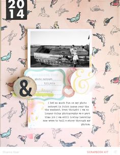 really like how the page background is a patterned paper and the photo + journaling block is set off by being on a solid (lighter) colored paper.