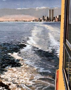 Richard Estes ~ Study VI, New York Harbor, 1997 (woodcut, printed in 43 colors from 39 blocks) Landscape Prints, Urban Landscape, Illinois, City Sketch, New York Harbor, Whitney Museum, Museum Of Contemporary Art, Photorealism, Art Institute Of Chicago