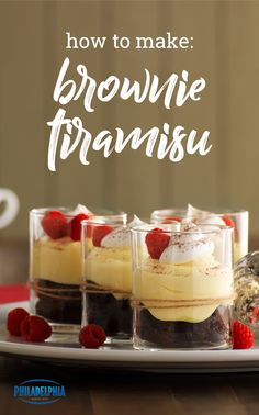 Easy Brownie Tiramisu – Coffee, raspberries, and sweet cream cheese take brownies to an even yummier level in this easy-to-make tiramisu recipe. Ready in 20 minutes, this dessert idea is definitely worth checking out. Delicious Desserts, Yummy Food, Recipe Ready, Tiramisu Recipe, Elegant Desserts, Dessert Dishes, Kraft Recipes, Eat Dessert First, Diy Food