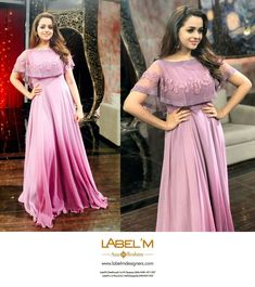 Bhavana in lavender ombre cape gown costume by label m Cape Gown, Long Gown Dress, Frock Dress, Long Frock, Indian Gowns Dresses, Pakistani Dresses, Indian Outfits, Evening Dresses, Gown Party Wear