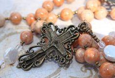 Catholic Rosary Beads In Orange Jasper & by BlueMantleCreations, $157.00