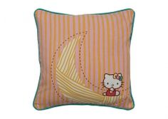 Hello Kitty throw pillow. I love you all the way to the moon ... and back. Organic cotton.